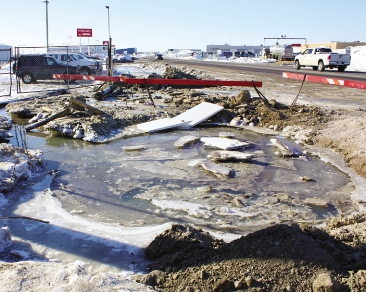 The Town of Bonnyville is struggling to deal with the old, decaying water lines that run under the majority of the town's streets. Nouvelle File Photo