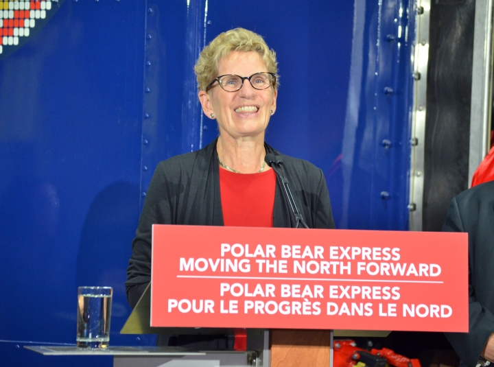Kathleen Wynne took a tour of the Ontario Northland refurbishment and repair facility on Aug. 12.